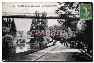 Postcard Old Paris Buttes Chaumont The Suspension Bridge