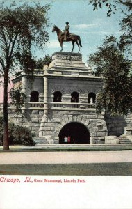 Grant Monument, Lincoln Park, Chicago, Illinois, Early Postcard, Unused