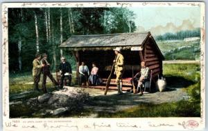 Vintage New York Postcard An Open Camp in the Adirondacks Detroit Pub. 1905