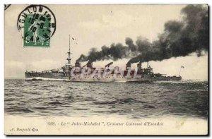 Old Postcard Boat Cruiser Jules Michelet Breastplate d & # 39escadre