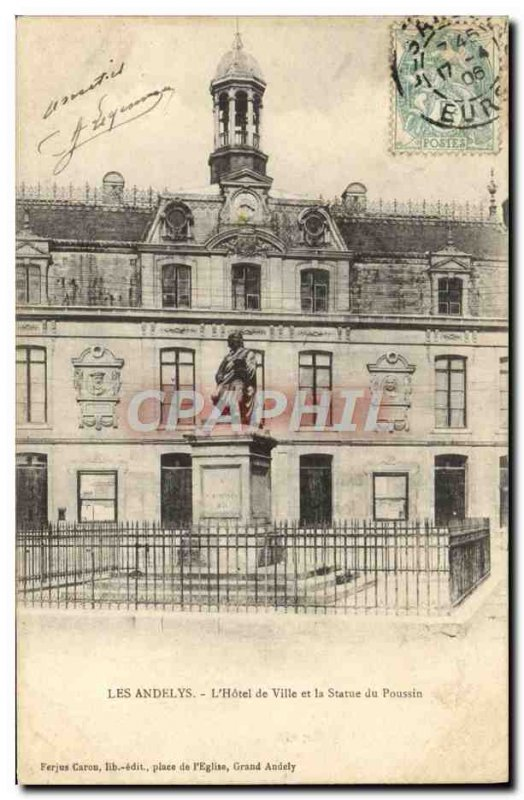 Old Postcard Les Andelys L & # 39Hotel City and Chick Statue