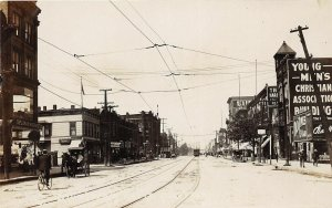G45/ Lorain Ohio RPPC Postcard c1910 Broadway Leiter Image? Trolley
