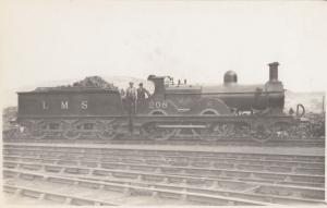 LMS No 208 With Driver Antique Real Photo Train Postcard