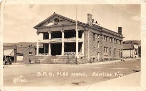 F36/ Rawlins Wyoming Postcard RPPC 1926 B.P.O Elks Home Building
