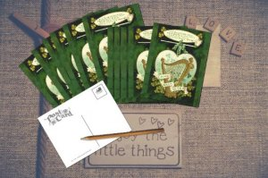 Saint Patrick's Day Cards Come Back To Erin Gold Harp and Shamrocks Vintage look