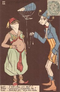 The Clown and the Oriental Dancer Humorous antique French postcard