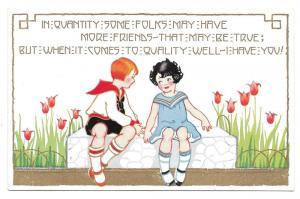 Friendship Poem Children Girl Boy Garden Tulips Postcard