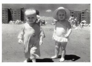 Postcard Moon Children, Rockaway Beach, New York 1985 by Barbara Alper BW51