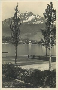 Switzerland Luzern dock lake view Postcard