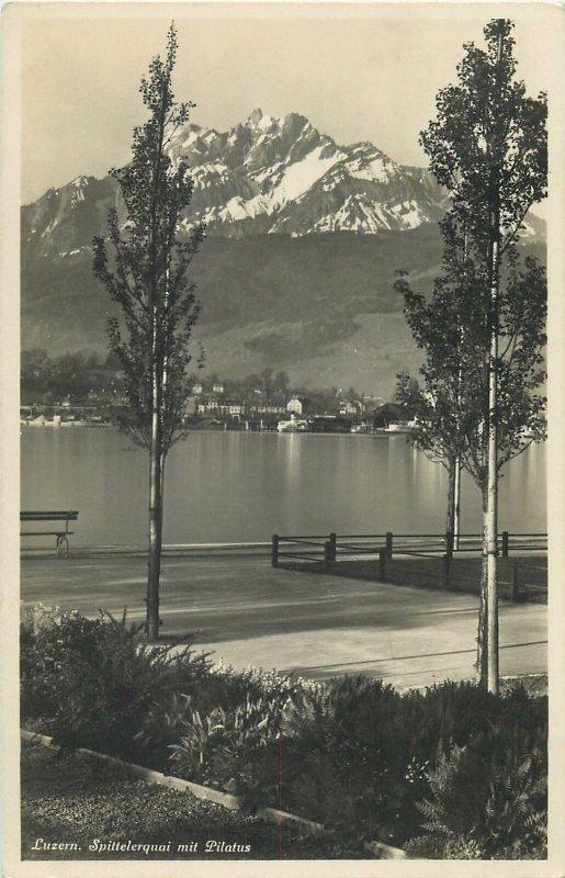 Switzerland Luzern dock lake view Postcard