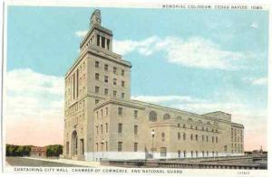 Memorial Coliseum, Cedar Rapids, Iowa, IA, White Border