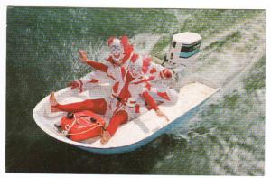 Corky Clown Speed Boat Outboard Cypress Gardens Florida postcard