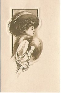 Victorian Lady with Muff and Merry Widow Hat - Antique Postcard Copyright 1910