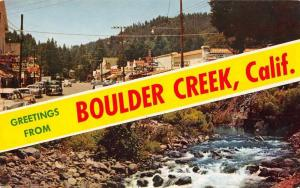 Boulder Creek California Greetings From scenic views vintage pc Z39820