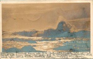 Vtg Postcard 1907 RPPC UDB Surf at Pacific Grove CA - Bank of Pacific Grove Pub