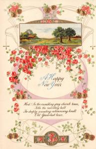 New Year~Delicate Red Pink Tea Roses~White Emboss Art Nouveau~Trees~Poem~Germany
