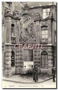 Rouen Postcard Old Fountain of the big clock
