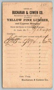 St Louis Missouri~Buchanan & Cowen Co~Yellow Pine Lumber~Receipt~1890 Postal PC