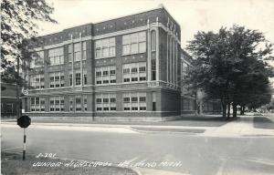 Holland Michigan~Stop by Junior High School~Real Photo Postcard 1950s