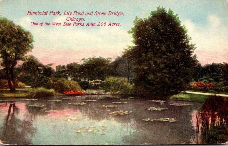 Illinois Chicago Humboldt Park Lily Pond and Stone Bridge