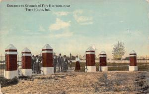 Terre Haute Indiana~Fort Harrison~Victorian Ladies At Iron Entrance Gate~1908 PC
