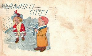 Vintage Postcard 1908 Your Awfully Cute! Man & Woman Love