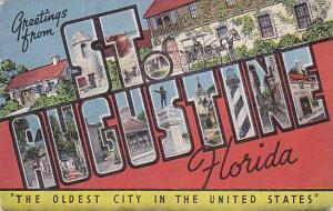 Large Letter Greetings From ST. AUSGUSTINE, Florida, 1930-1940s