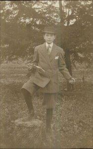 Fashion Boy in Suit Hat Shoes Cane or Riding Crop? Amateur RPPC c1910