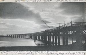 Boston MA Massachusetts City Point Pier Moonlight Black & White c1906 Postcard