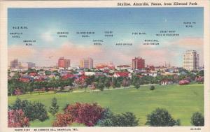 Texas Amarillo Skyline From Ellwood Park 1940 Curteich