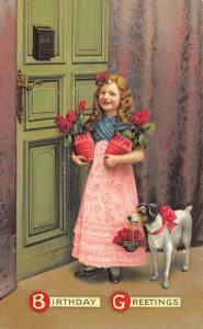 Victorian Girl Delivers Flowers With Dog~Green Door~Mailbox~Embossed~Germany