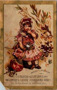 Aurora Illinois ILL - JOHNSON & SISTERS - LADIES FURNISHING Victorian Trade Card