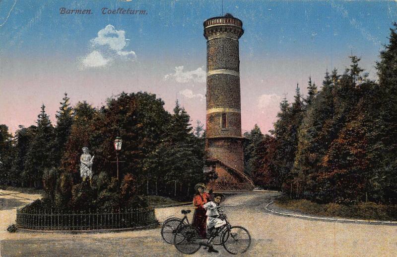 Barmen Toelleturm Tower Cyclists Statue Monument Postcard
