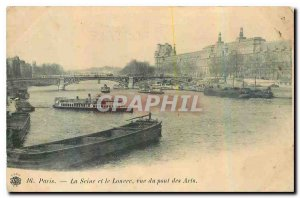 Old Postcard Paris The Seine and the Louvre view of the Pont des Arts