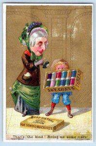 J&P COATS THREAD NEWSBOY GRANDMA OLD LADY KETTERLINUS LITHO VICTORIAN TRADE CARD