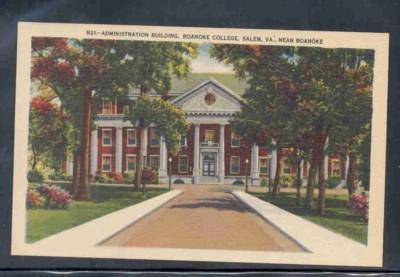 Virginia postcard Ad Bldg Roanoke College Salem