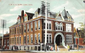 Lima Ohio~YMCA Building~Arched Entryway~Group of People on Sidewalk~c1910 Pc
