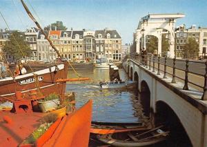 Netherlands Amsterdam Magere Brug over de Amstel Boats Bridge Pont Bateaux