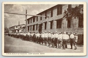 Camp Devens Massachusetts~Bunch of Rookies~Cadets Lined up Outside Barracks~'20s