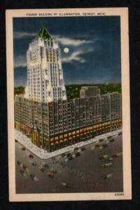 MI Fisher Blg DETROIT MICHIGAN Postcard Linen Moonlight