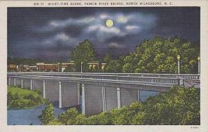 North Carolina North Wilkesboro Night time Scene Yadkin River Bridge