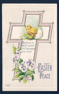 Easter Peace Chick Egg Pansies & Cross used c1913