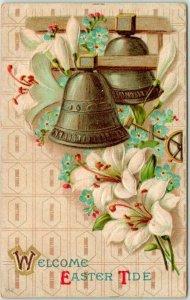 Vintage 1910 EASTER Greetings Postcard Silver Bells Lilies Welcome Easter Tide