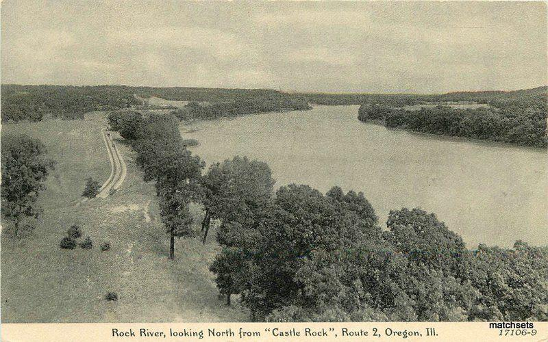 1930s Oregon Illinois Rock River Castle Rock Childs postcard 9239