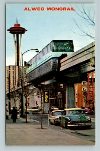 Seattle WA- Washington, Alweg Monorail, Space Needle, Chrome Postcard