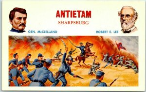 1950s Battles of the Civil War Postcard ANTIETAM - Sharpsburg Lee McClelland