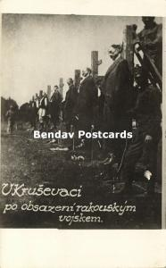 serbia, Austria-Hungarian Soldiers Executing Serbs by Hanging 1914 WWI RPPC (1)