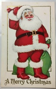 A Merry Christmas Santa Postcard Sack of Toys Red Boots