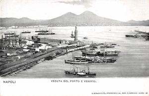 Naples Italy Napoli Harbor Lighthouse Vesuvius Scenic Antique Postcard (J25531)