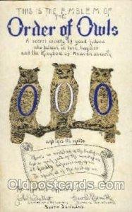 Order of Owls, Fraternal Unused light internal crease near bottom edge, minor...
